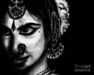 Bharatanatyam Painting - Indian Dancer - Charcoal Drawing by SnazzyHues
