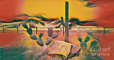 Secondlife Wall Art - Digital Art - Indian Desert Cactus by Evanescence Cuntiva