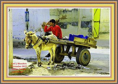 Stone Pony Painting - Indian Donkey Cart Owner H A With Decorative Ornate Printed Frame. by Gert J Rheeders
