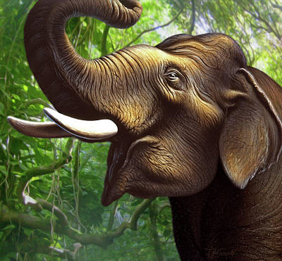 Indian Elephant 1 Art Print by Jerry LoFaro