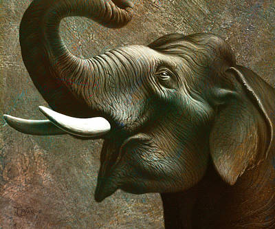 Golden Painting - Indian Elephant 2 by Jerry LoFaro