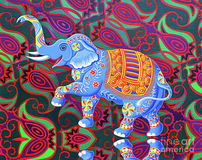 African Motifs Painting - Indian Elephant by Jane Tattersfield