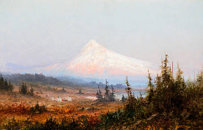 Mt Hood Painting - Indian Encampment At Mt. Hood by Celestial Images