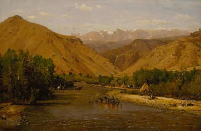 Worthington Painting - Indian Encampment by Worthington Whittredge