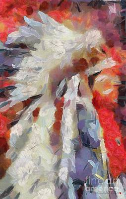 Indian Feathered Painting Art Print by Catherine Lott