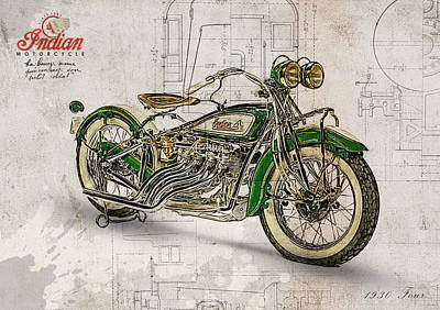 Highway Digital Art - Indian Four 1930 by Yurdaer Bes