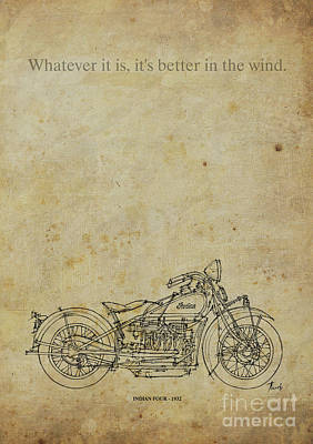 Bicycle Drawing - Indian Four 1932 Motorcycle Quote. by Pablo Franchi