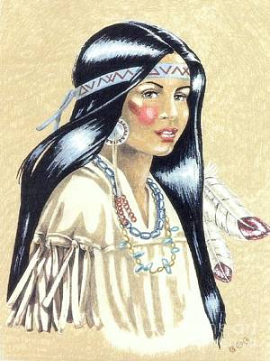 Indian Girl Art Print by George I Perez