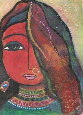 Art Print featuring the mixed media Indian Girl With Nose Ring by Prerna Poojara