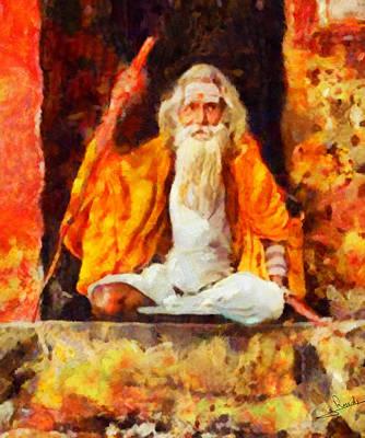 Indian Guru Painting - Indian Guru by George Rossidis