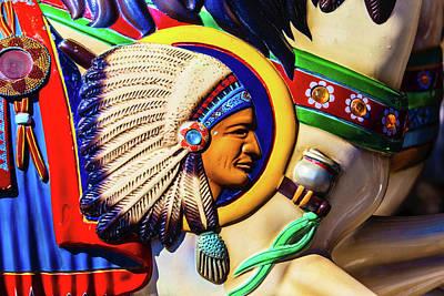 Indian Head On Carrousel Horse Art Print