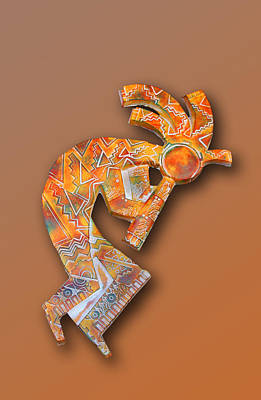 Ceramic Design Digital Art - Indian Icon Kokopelli by Linda Phelps