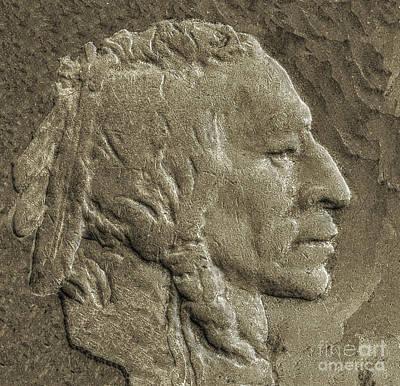 Indian In Stone   Art Print by Randy Steele