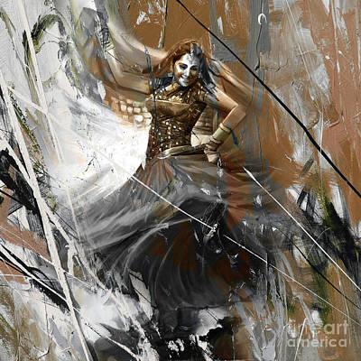 Indian Folk Art Painting - Indian Kathak Dance 881g by Gull G