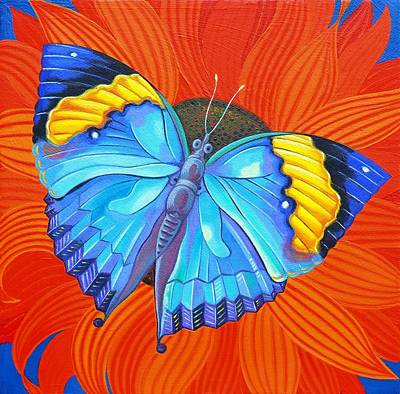 Multi Colored Painting - Indian Leaf Butterfly by Jane Tattersfield