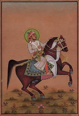 Rajasthani Painting - Indian Miniature Painting Handmade Rajasthani Maharaja Equestrian Portrait Art by ArtnIndia