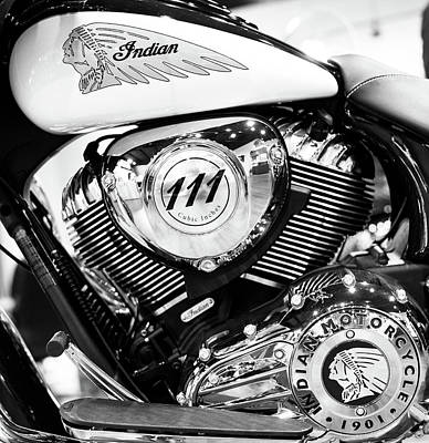 Photograph - Indian Motorcycle 081316 Bw by Rospotte Photography