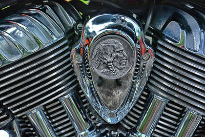 Photograph - Indian Motorcycle Engine Logo by Mike Martin