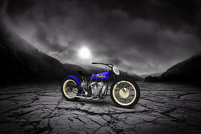 Indian Motorcycle Flat Track Racer 1928 Mountains Print by Aged Pixel