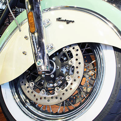 Photograph - Indian Motorcycle Green Wheel by Rospotte Photography