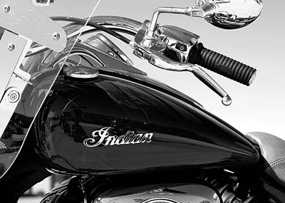 Photograph - Indian Motorcycle Handle Bw by Rospotte Photography