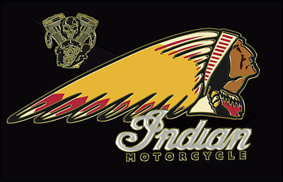 Digital Art - Indian Motorcycle Logo Series 2 by Carlos Diaz