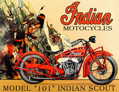 Indian Motorcycle Company Painting - Indian Motorcycle Model 101 by John Farr
