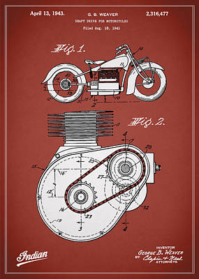 Harley Davidson Photograph - Indian Motorcycle Patent 1943 by Mark Rogan