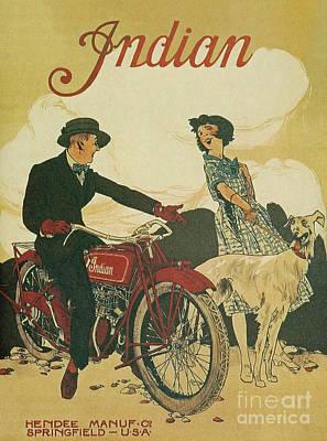 Digital Art - Indian Motorcycle Poster by Steven Parker