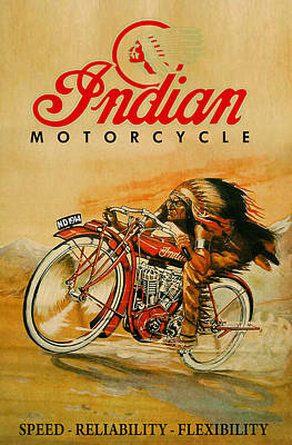 Indian Motorcycle Company Painting - Indian Motorcycle Vintage Ad by Big 88 Artworks