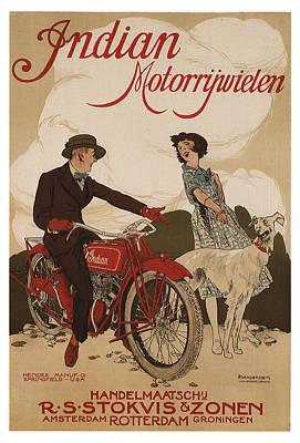 Mixed Media - Indian Motorrywielen - Indian Motorcycles - Vintage Advertising Poster by Studio Grafiikka