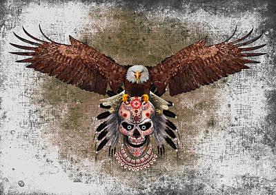 Haunted Mansion Digital Art - indian native Flaying Eagle sugar Skull by Three Second