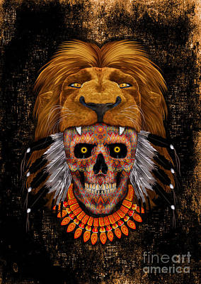 Haunted Mansion Digital Art - indian native lion the day of the dead sugar Skull by Three Second