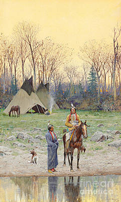 Painting - Indian On Horseback by Henry Francois Farny