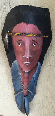 Relief - Indian On Palm 2 by Christine Lathrop