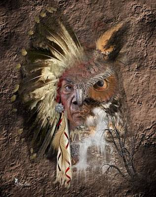 Digital Art - Indian Owl Visions by Ali Oppy