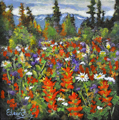 Painting - Indian Paint Brush In Mountain Meadow by Eileen  Fong
