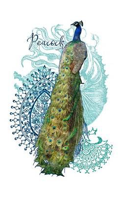 Royal Mixed Media - Indian Peacock Henna Design Paisley Swirls by Audrey Jeanne Roberts