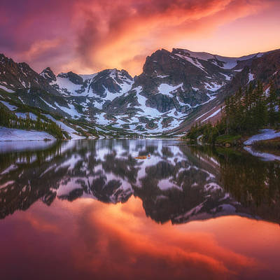 Colorado Sunset Photograph - Indian Peaks Reflection by Darren  White