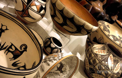 Indian Pottery Art Print by Linda  Parker