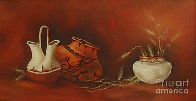 Indian Pottery With Wheat Art Print by Ann Kleinpeter