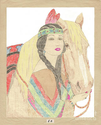 Drawing - Indian Princess At Fair by Donna L Munro