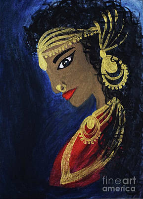 Goddess Jewellery Painting - Indian Princess by Visithra Manikam