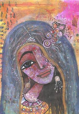 Art Print featuring the mixed media Indian Rajasthani Woman With Colorful Background  by Prerna Poojara