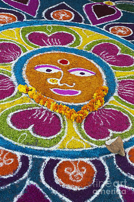 Indian Art Photograph - Indian Rangoli Face  by Tim Gainey