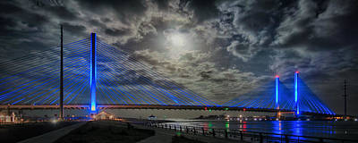 Photograph - Indian River Bridge Moonlight Panorama by Bill Swartwout