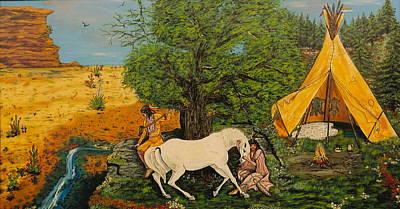 Indian Romance Art Print by V Boge