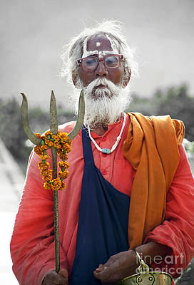 Photograph - Indian Sadhu Carries The God Shiva Symbol Trident by Gabriele Pomykaj