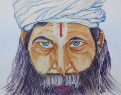 Sadhu Painting - Indian Sadhu by Chethan Kumar