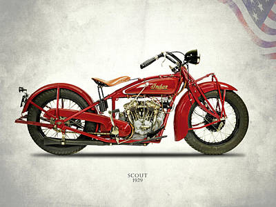 Indian Scout 101 1929 Art Print by Mark Rogan